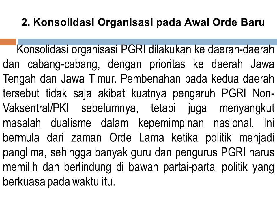 2. Konsolidasi Organisasi pada Awal Orde Baru