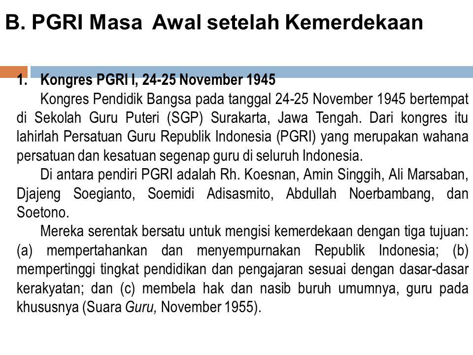 B. PGRI Masa Awal setelah Kemerdekaan