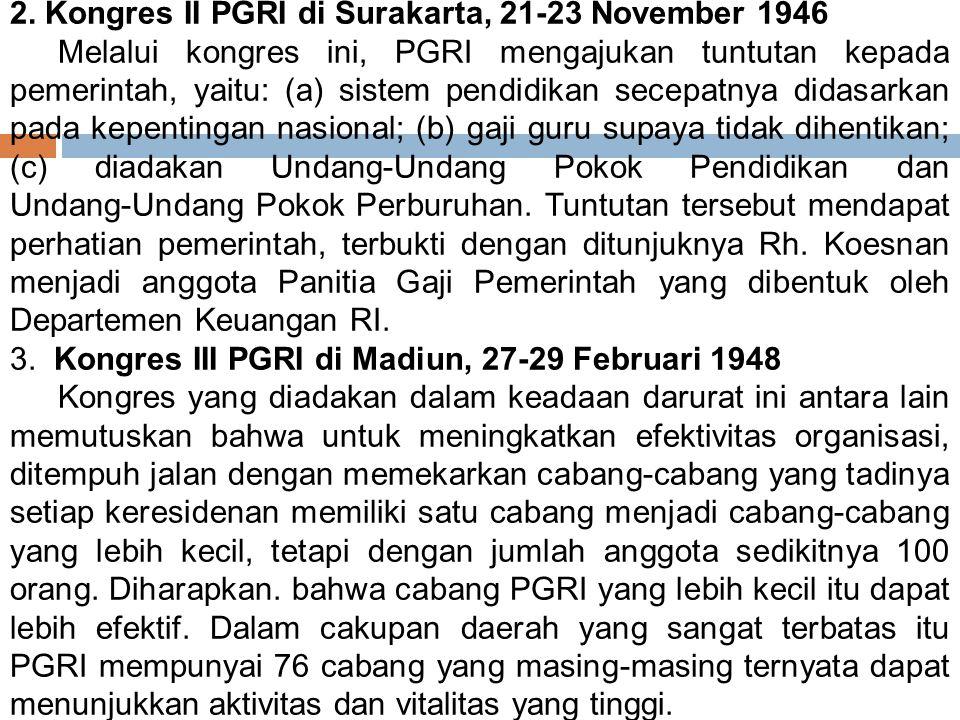 2. Kongres II PGRI di Surakarta, 21‑23 November 1946