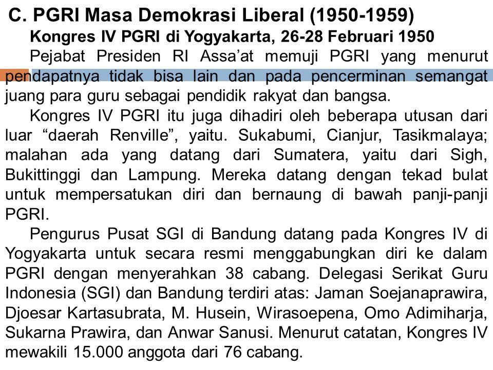 C. PGRI Masa Demokrasi Liberal (1950‑1959)