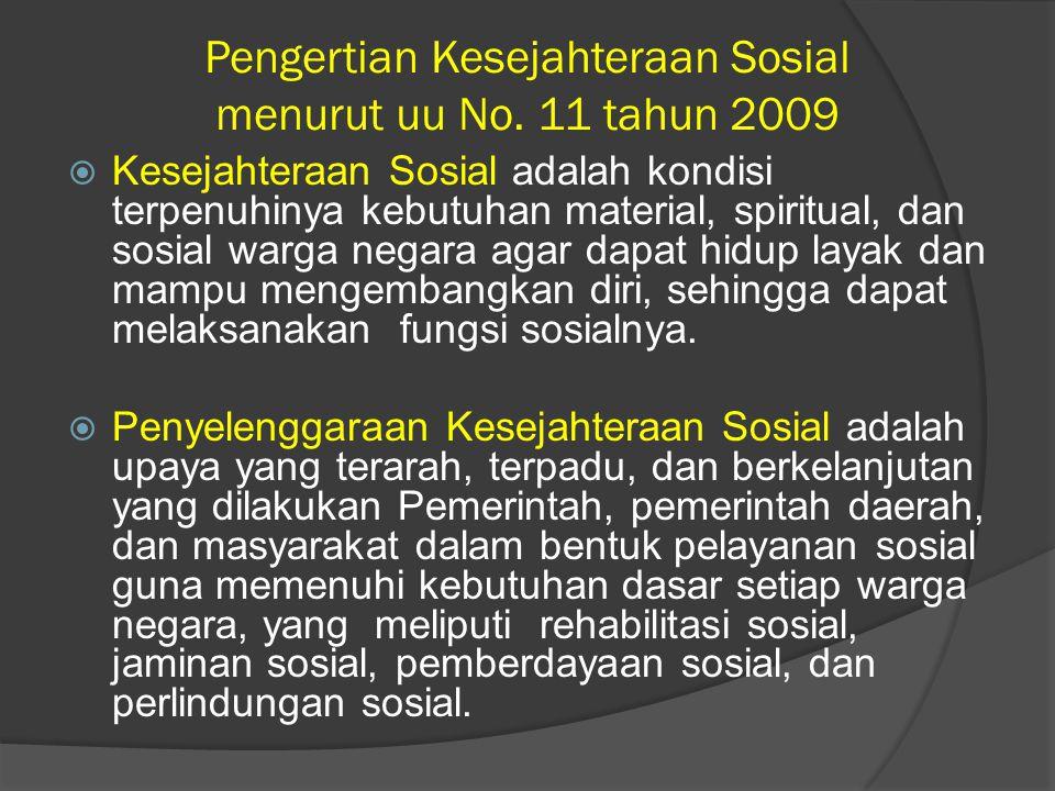 Pengertian Kesejahteraan Sosial menurut uu No. 11 tahun 2009