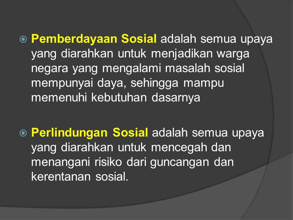 Pemberdayaan Sosial adalah semua upaya yang diarahkan untuk menjadikan warga negara yang mengalami masalah sosial mempunyai daya, sehingga mampu memenuhi kebutuhan dasarnya