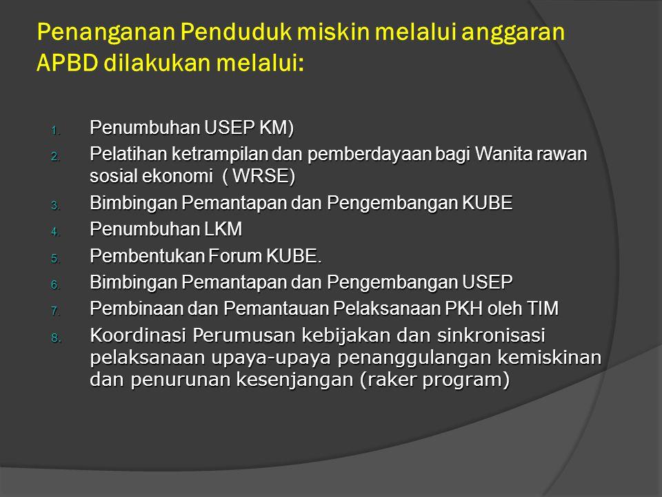 Penanganan Penduduk miskin melalui anggaran APBD dilakukan melalui: