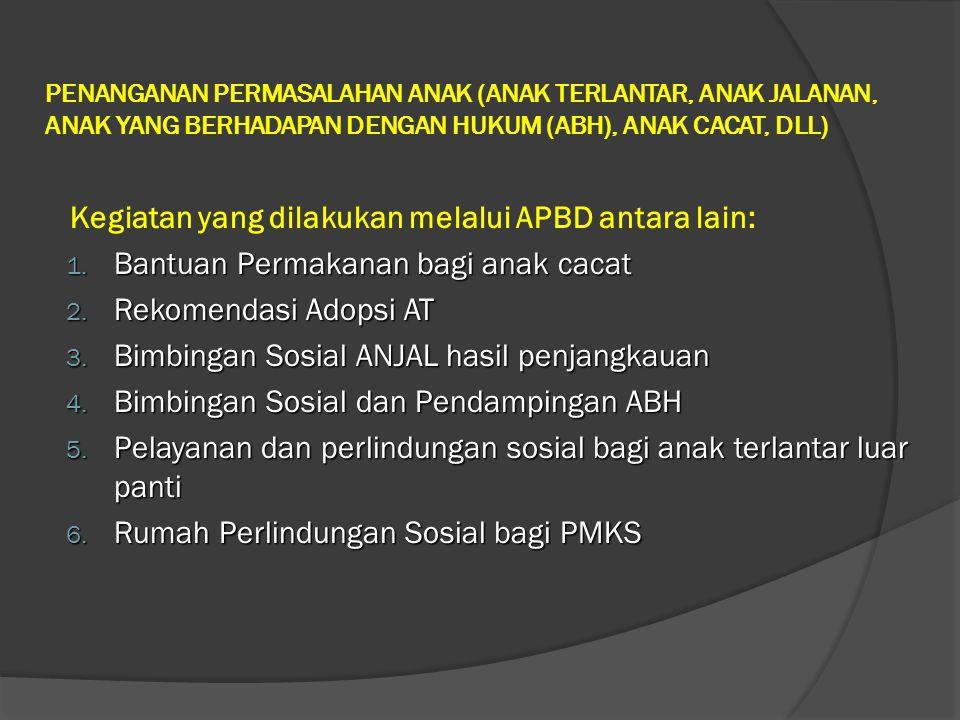 Kegiatan yang dilakukan melalui APBD antara lain: