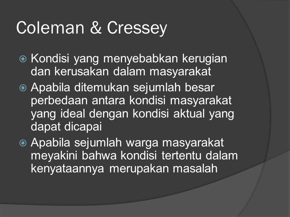 Coleman & Cressey Kondisi yang menyebabkan kerugian dan kerusakan dalam masyarakat.