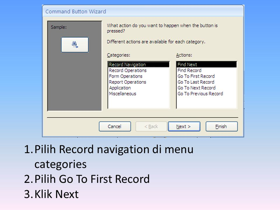 Pilih Record navigation di menu categories