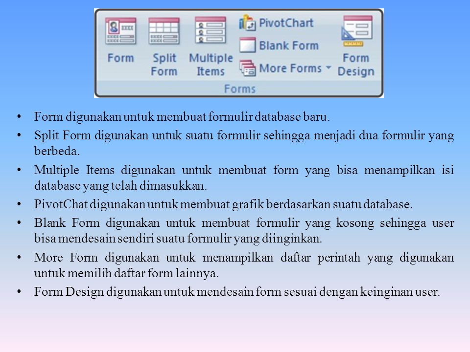 Form digunakan untuk membuat formulir database baru.
