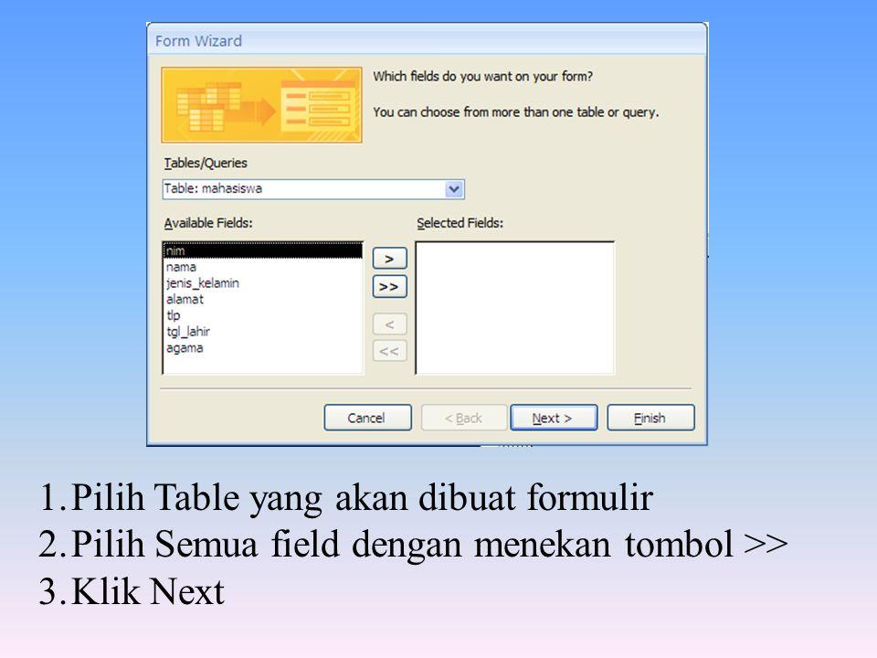 Pilih Table yang akan dibuat formulir
