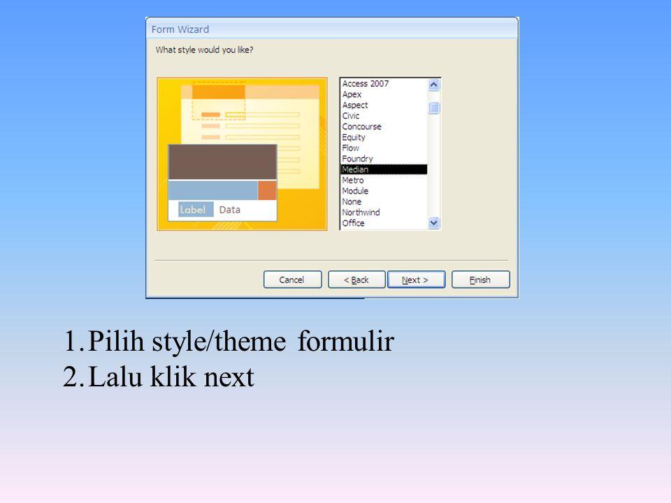 Pilih style/theme formulir