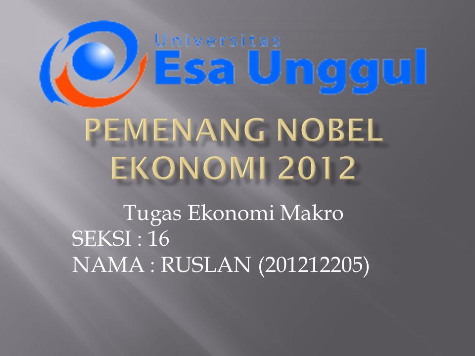 PEMENANG NOBEL EKONOMI 2012