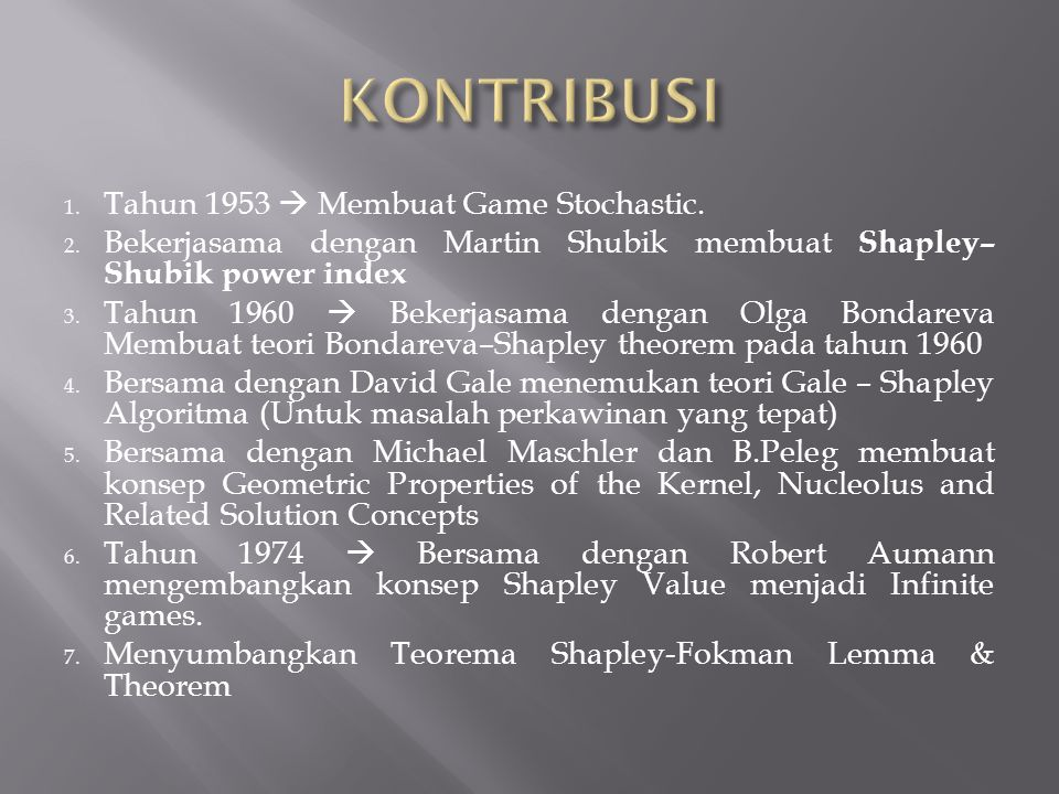 KONTRIBUSI Tahun 1953  Membuat Game Stochastic.