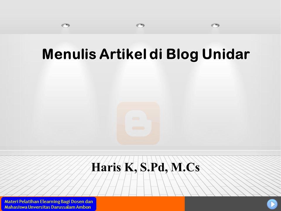 Menulis Artikel di Blog Unidar