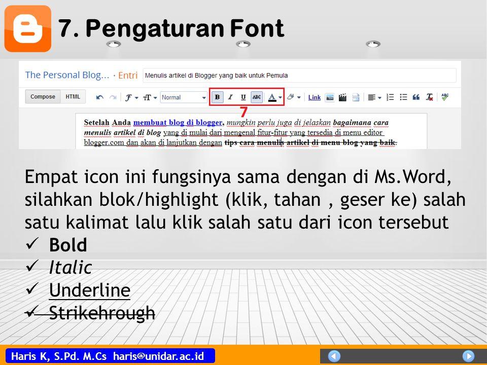 7. Pengaturan Font