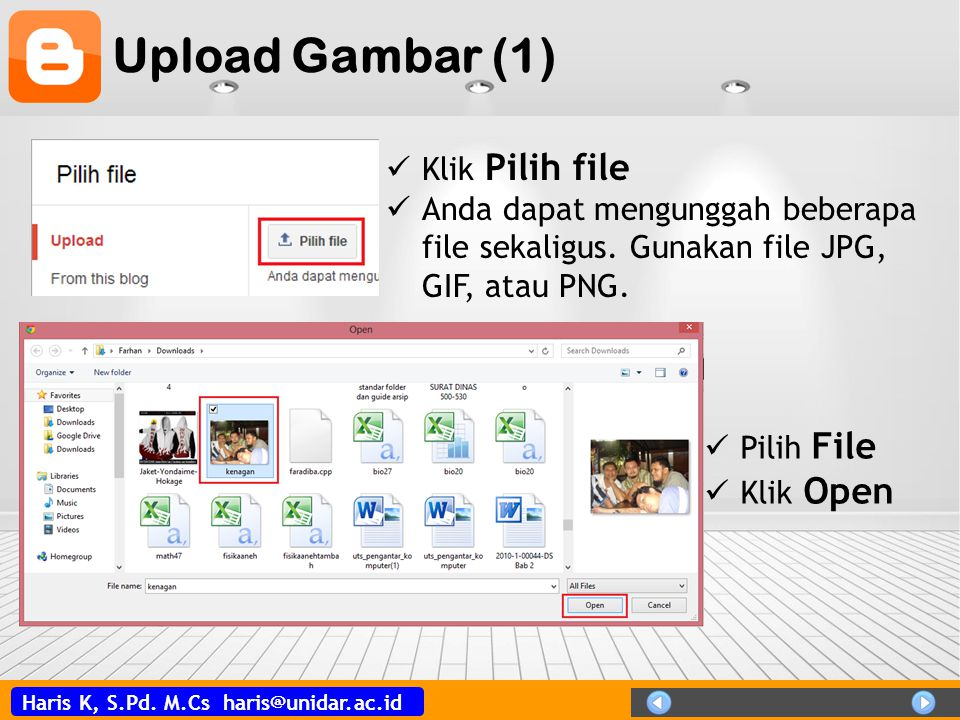 Upload Gambar (1) Klik Pilih file