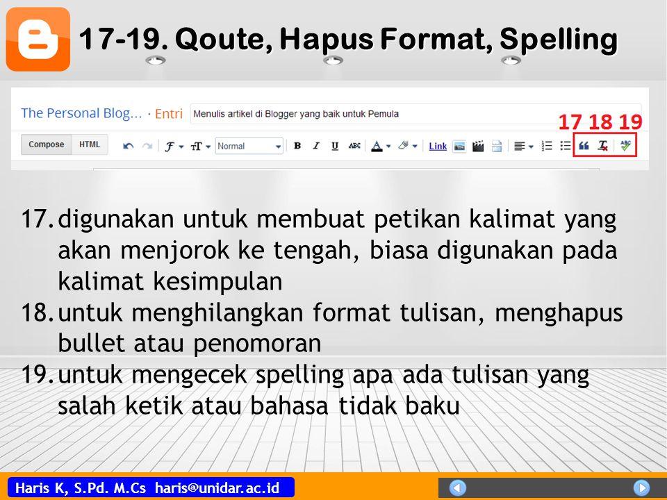 17-19. Qoute, Hapus Format, Spelling