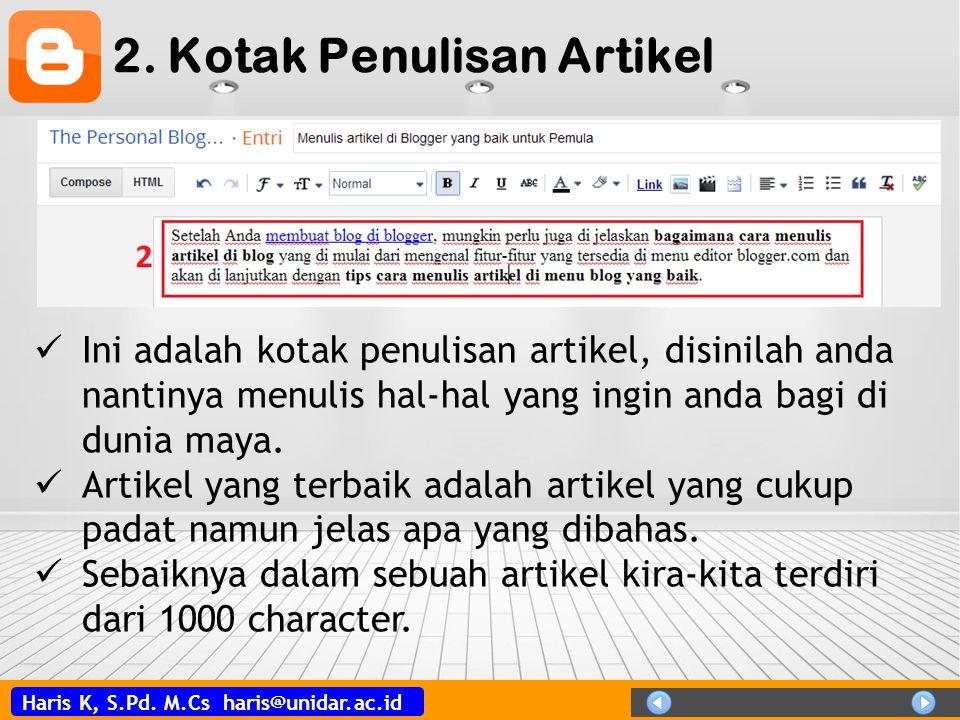 2. Kotak Penulisan Artikel