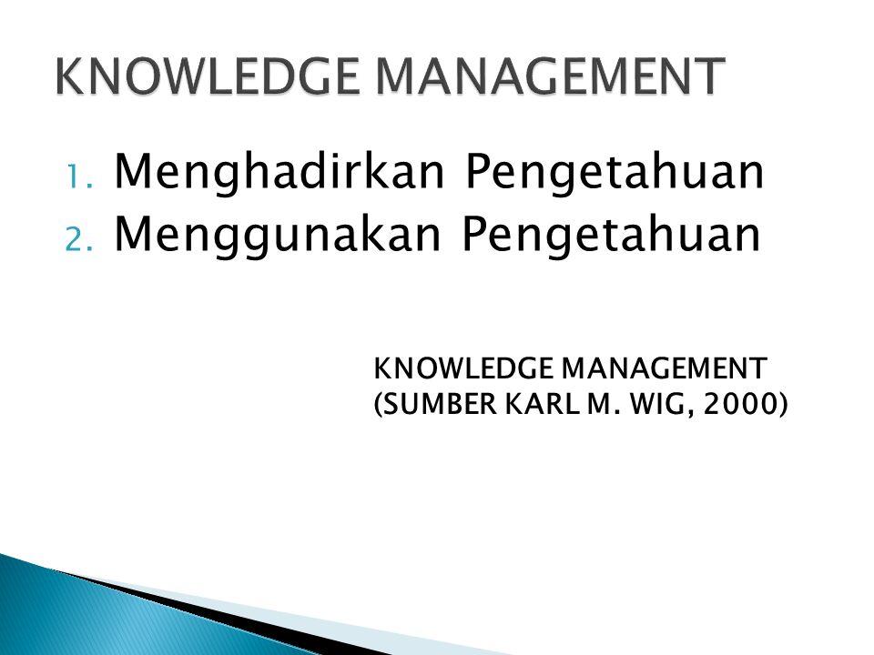 KNOWLEDGE MANAGEMENT Menghadirkan Pengetahuan Menggunakan Pengetahuan