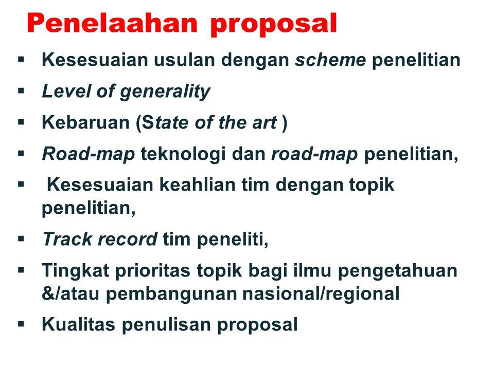 Penelaahan proposal Kesesuaian usulan dengan scheme penelitian