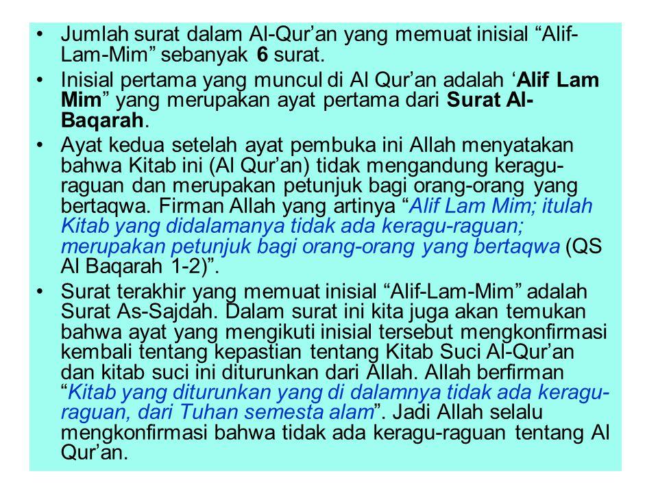 Jumlah surat dalam Al-Qur'an yang memuat inisial Alif-Lam-Mim sebanyak 6 surat.