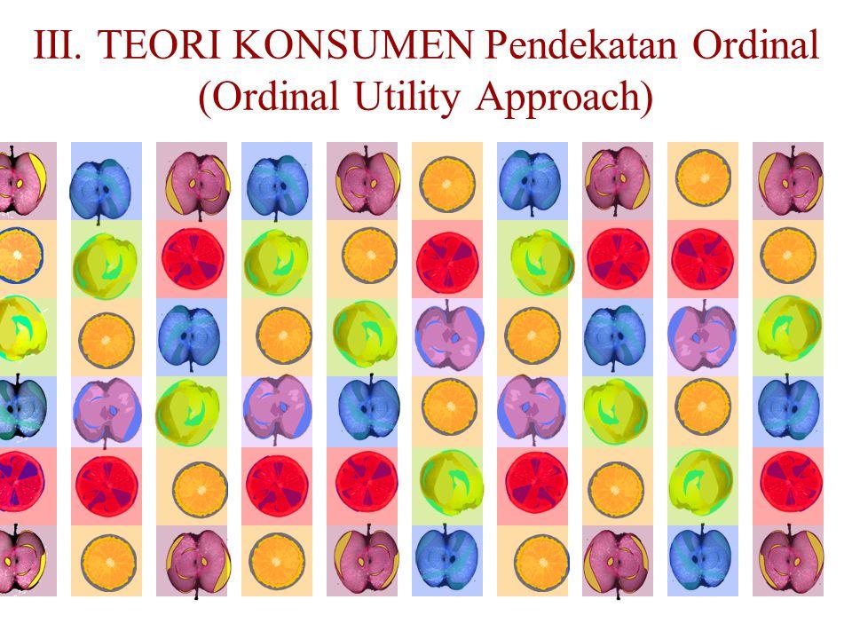 III. TEORI KONSUMEN Pendekatan Ordinal (Ordinal Utility Approach)