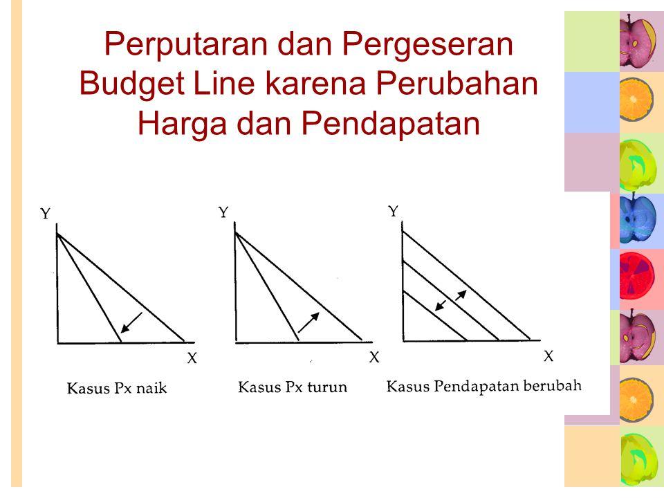 Perputaran dan Pergeseran Budget Line karena Perubahan Harga dan Pendapatan