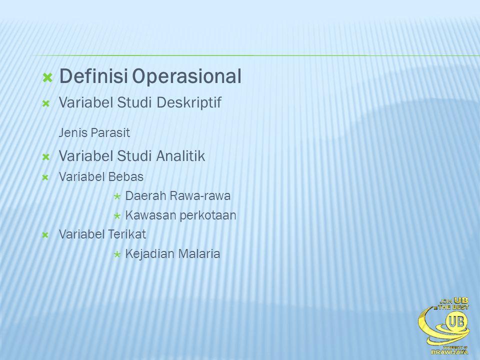 Definisi Operasional Jenis Parasit Variabel Studi Deskriptif