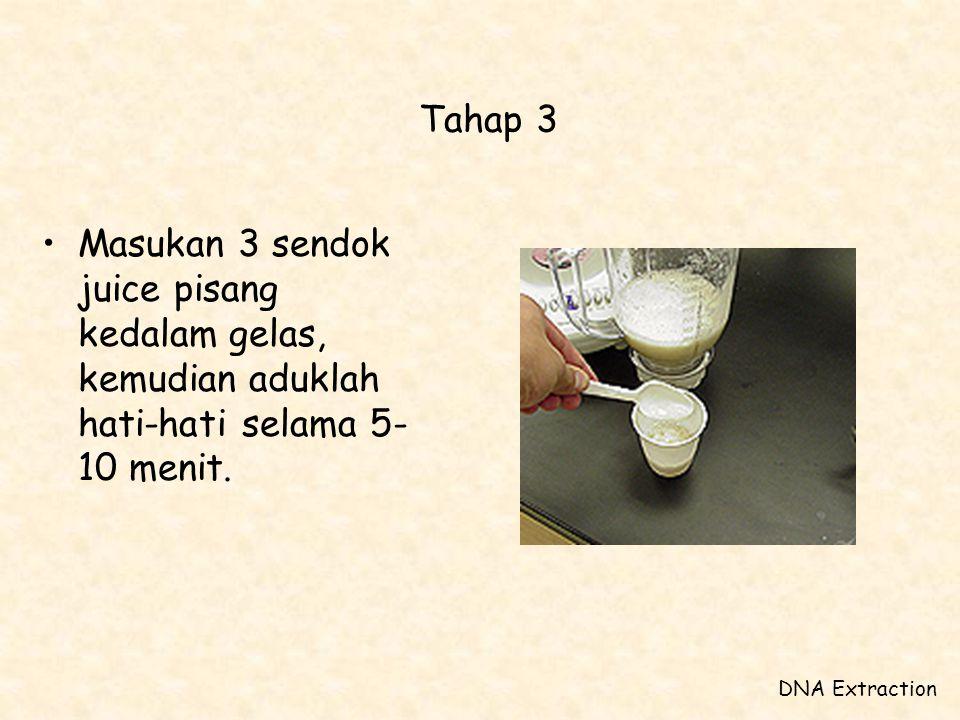 Tahap 3 Masukan 3 sendok juice pisang kedalam gelas, kemudian aduklah hati-hati selama 5-10 menit.