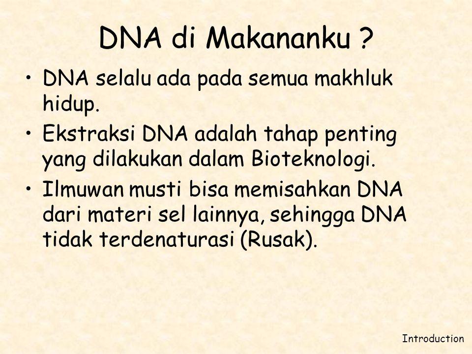 DNA di Makananku DNA selalu ada pada semua makhluk hidup.