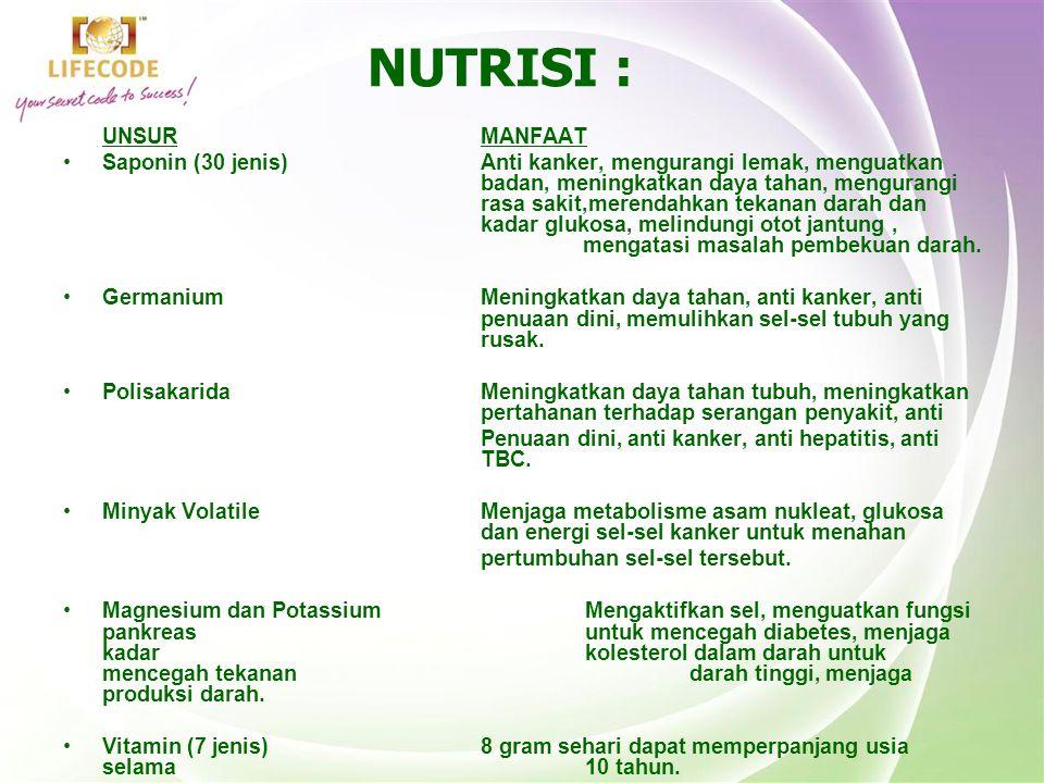 NUTRISI : UNSUR MANFAAT