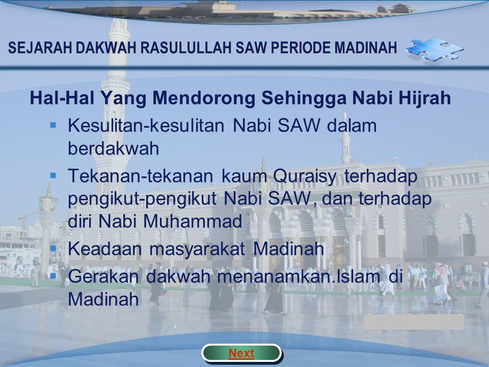 SEJARAH DAKWAH RASULULLAH SAW PERIODE MADINAH