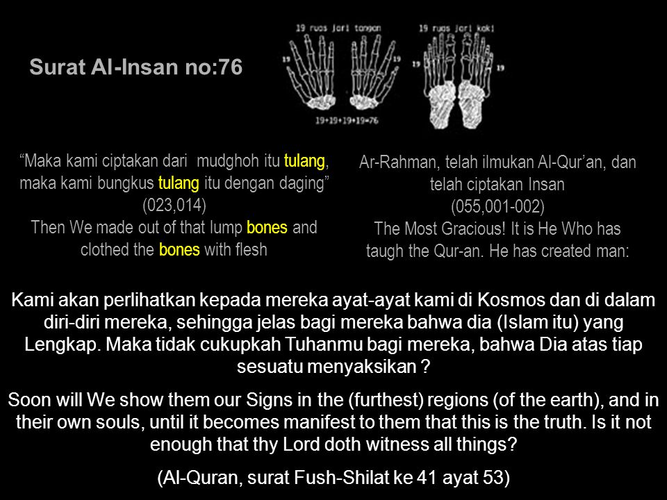 Surat Al-Insan no:76 Maka kami ciptakan dari mudghoh itu tulang, maka kami bungkus tulang itu dengan daging