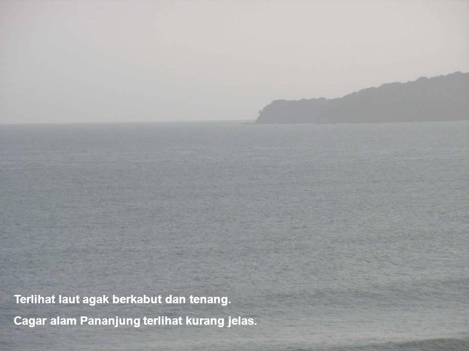 Terlihat laut agak berkabut dan tenang.