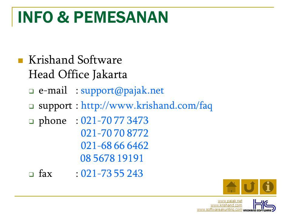 INFO & PEMESANAN Krishand Software Head Office Jakarta