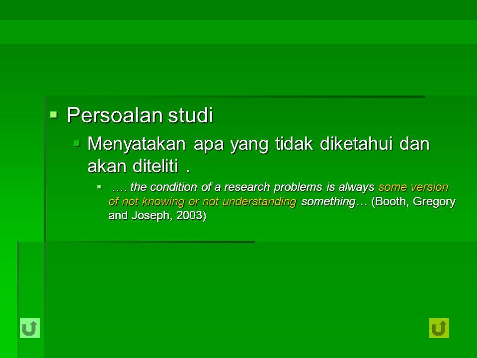 Persoalan studi Menyatakan apa yang tidak diketahui dan akan diteliti .