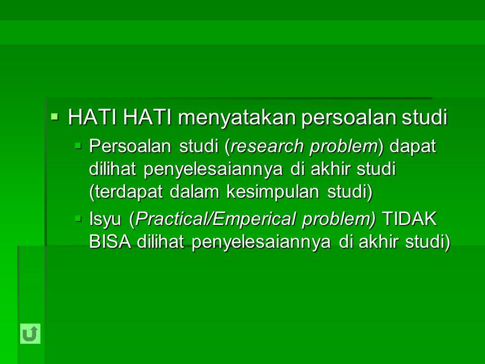 HATI HATI menyatakan persoalan studi