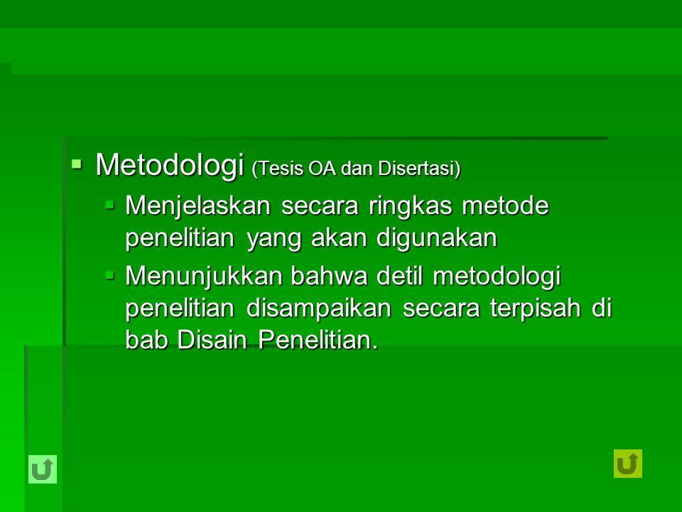 Metodologi (Tesis OA dan Disertasi)