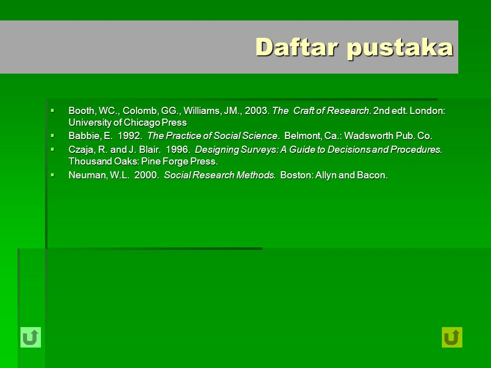 Daftar pustaka Booth, WC., Colomb, GG., Williams, JM., 2003. The Craft of Research. 2nd edt. London: University of Chicago Press.