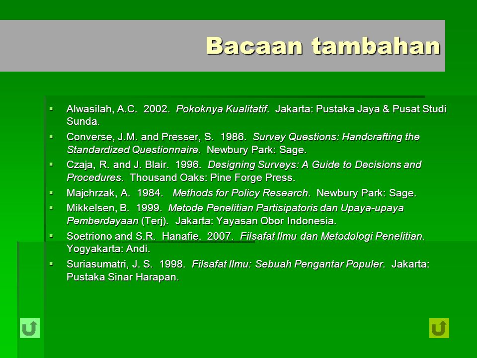 Bacaan tambahan Alwasilah, A.C. 2002. Pokoknya Kualitatif. Jakarta: Pustaka Jaya & Pusat Studi Sunda.