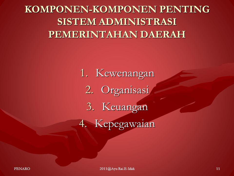 KOMPONEN-KOMPONEN PENTING SISTEM ADMINISTRASI PEMERINTAHAN DAERAH