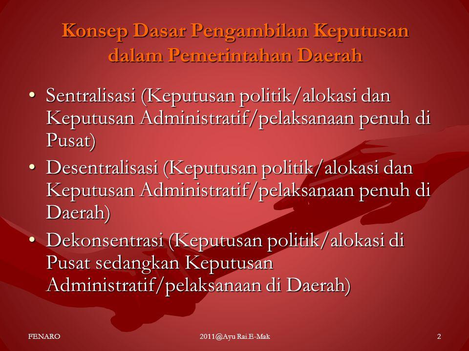 Konsep Dasar Pengambilan Keputusan dalam Pemerintahan Daerah