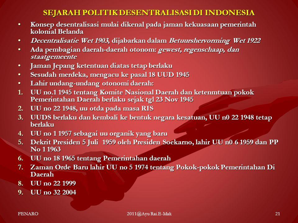 SEJARAH POLITIK DESENTRALISASI DI INDONESIA