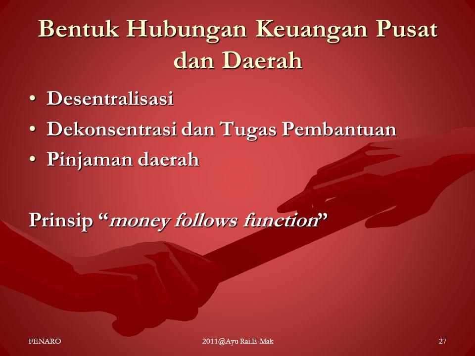 Bentuk Hubungan Keuangan Pusat dan Daerah