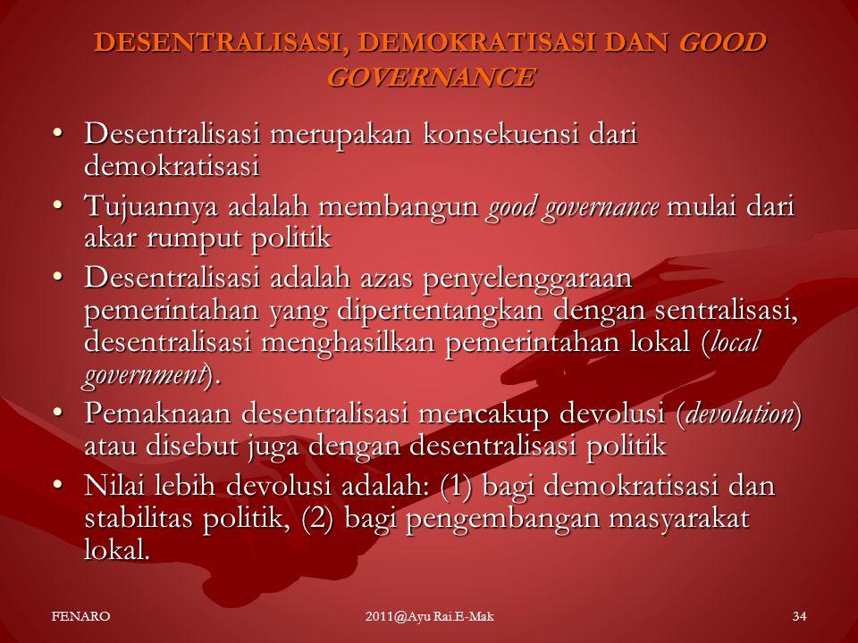 DESENTRALISASI, DEMOKRATISASI DAN GOOD GOVERNANCE