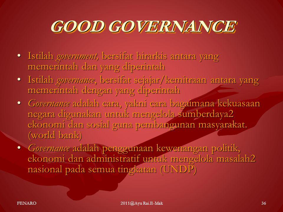 GOOD GOVERNANCE Istilah government, bersifat hirarkis antara yang memerintah dan yang diperintah.