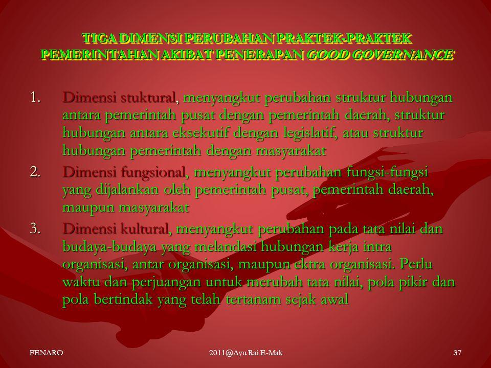 TIGA DIMENSI PERUBAHAN PRAKTEK-PRAKTEK PEMERINTAHAN AKIBAT PENERAPAN GOOD GOVERNANCE