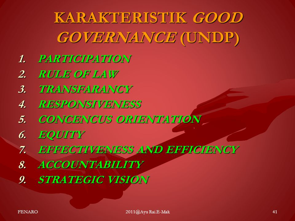 KARAKTERISTIK GOOD GOVERNANCE (UNDP)