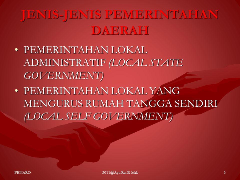 JENIS-JENIS PEMERINTAHAN DAERAH