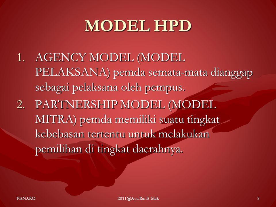 MODEL HPD AGENCY MODEL (MODEL PELAKSANA) pemda semata-mata dianggap sebagai pelaksana oleh pempus.