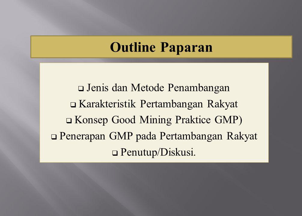 Outline Paparan Jenis dan Metode Penambangan