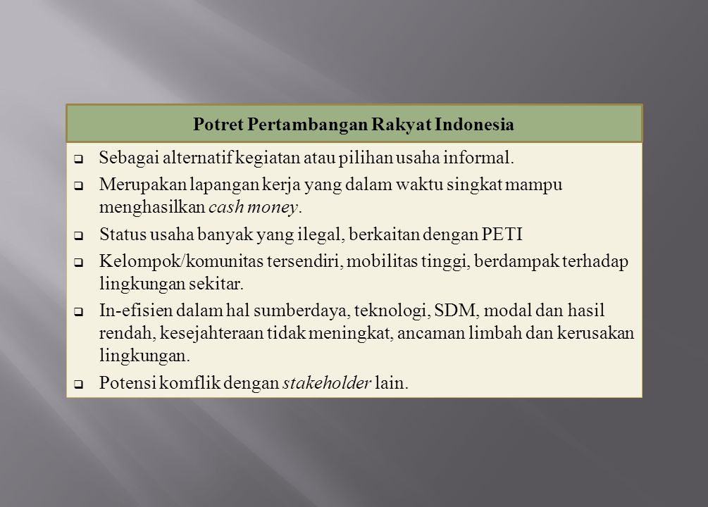 Potret Pertambangan Rakyat Indonesia